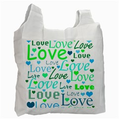 Love pattern - green and blue Recycle Bag (Two Side)