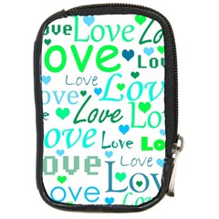 Love pattern - green and blue Compact Camera Cases