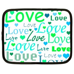 Love pattern - green and blue Netbook Case (XXL)