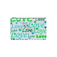 Love pattern - green and blue Cosmetic Bag (Small)