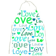Love pattern - green and blue Full Print Aprons