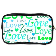 Love pattern - green and blue Toiletries Bags 2-Side