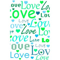 Love pattern - green and blue 5.5  x 8.5  Notebooks