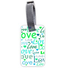 Love pattern - green and blue Luggage Tags (One Side)