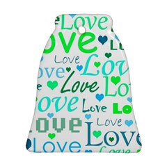 Love pattern - green and blue Bell Ornament (2 Sides)