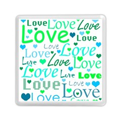 Love pattern - green and blue Memory Card Reader (Square)
