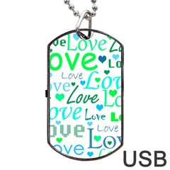 Love pattern - green and blue Dog Tag USB Flash (Two Sides)