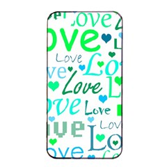 Love pattern - green and blue Apple iPhone 4/4s Seamless Case (Black)