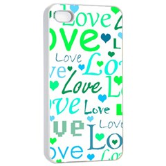 Love pattern - green and blue Apple iPhone 4/4s Seamless Case (White)