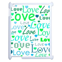 Love pattern - green and blue Apple iPad 2 Case (White)