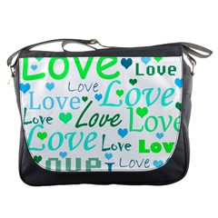 Love pattern - green and blue Messenger Bags