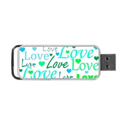 Love pattern - green and blue Portable USB Flash (Two Sides)