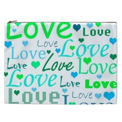 Love pattern - green and blue Cosmetic Bag (XXL)