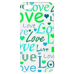 Love pattern - green and blue Apple iPhone 5 Hardshell Case
