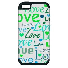 Love pattern - green and blue Apple iPhone 5 Hardshell Case (PC+Silicone)