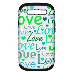Love pattern - green and blue Samsung Galaxy S III Hardshell Case (PC+Silicone)