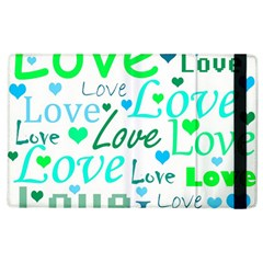 Love pattern - green and blue Apple iPad 2 Flip Case