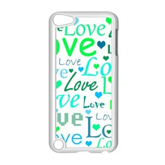 Love pattern - green and blue Apple iPod Touch 5 Case (White)