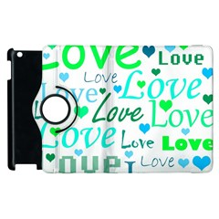 Love pattern - green and blue Apple iPad 2 Flip 360 Case