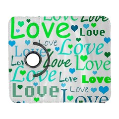 Love pattern - green and blue Galaxy S3 (Flip/Folio)