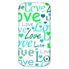 Love pattern - green and blue Samsung Galaxy S3 S III Classic Hardshell Back Case