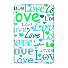 Love pattern - green and blue Apple iPad Mini Hardshell Case (Compatible with Smart Cover)