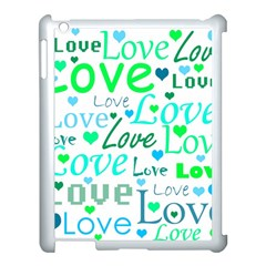 Love pattern - green and blue Apple iPad 3/4 Case (White)