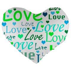 Love pattern - green and blue Large 19  Premium Heart Shape Cushions