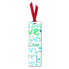 Love pattern - green and blue Small Book Marks
