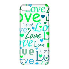 Love pattern - green and blue Apple iPod Touch 5 Hardshell Case with Stand