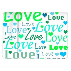 Love pattern - green and blue Samsung Galaxy Tab 10.1  P7500 Flip Case