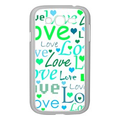 Love pattern - green and blue Samsung Galaxy Grand DUOS I9082 Case (White)