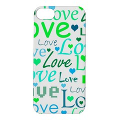 Love pattern - green and blue Apple iPhone 5S/ SE Hardshell Case