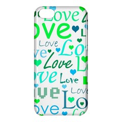 Love pattern - green and blue Apple iPhone 5C Hardshell Case
