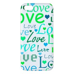 Love pattern - green and blue iPhone 5S/ SE Premium Hardshell Case