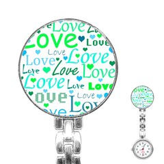Love pattern - green and blue Stainless Steel Nurses Watch