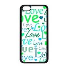 Love pattern - green and blue Apple iPhone 5C Seamless Case (Black)