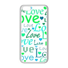 Love pattern - green and blue Apple iPhone 5C Seamless Case (White)