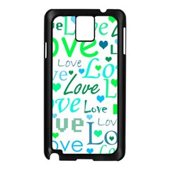 Love pattern - green and blue Samsung Galaxy Note 3 N9005 Case (Black)