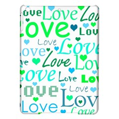 Love pattern - green and blue iPad Air Hardshell Cases