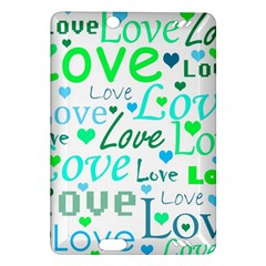 Love pattern - green and blue Amazon Kindle Fire HD (2013) Hardshell Case
