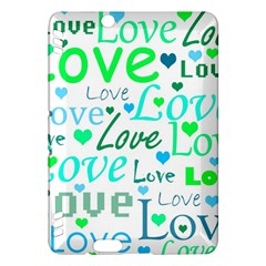 Love pattern - green and blue Kindle Fire HDX Hardshell Case
