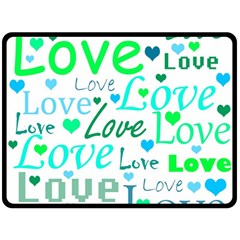 Love pattern - green and blue Double Sided Fleece Blanket (Large)