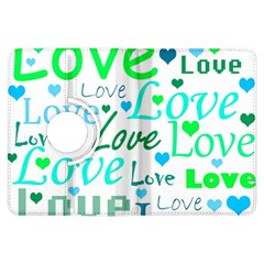 Love pattern - green and blue Kindle Fire HDX Flip 360 Case
