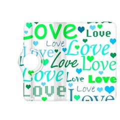 Love pattern - green and blue Kindle Fire HDX 8.9  Flip 360 Case