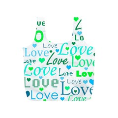 Love pattern - green and blue Full Print Recycle Bags (S)