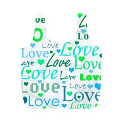 Love pattern - green and blue Full Print Recycle Bags (M)