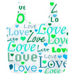 Love pattern - green and blue Full Print Recycle Bags (L)