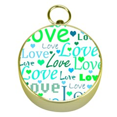 Love pattern - green and blue Gold Compasses