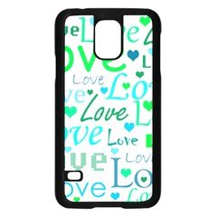 Love pattern - green and blue Samsung Galaxy S5 Case (Black)